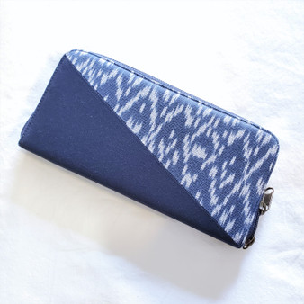 Fair trade cotton canvas and ikat print wallet and credit card holder from Cambodia