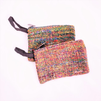 Fair trade recycled silk coin purse from Nepal
