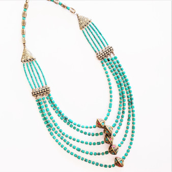 Fair trade turquoise and white metal necklace from Nepal