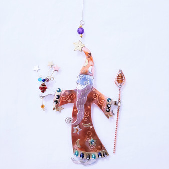 Fair trade mixed metal wizard ornament from Thailand