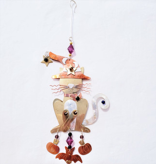 Fair trade mixed metal Halloween kitty ornament from Thailand