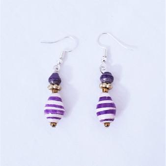 Fair trade purple paper bead earrings from Uganda