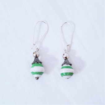 Fair trade rolled paper bead earrings from Uganda