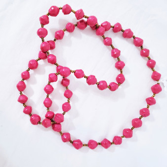 Fair trade rolled paper bead necklace from Uganda