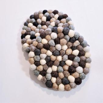 Fair trade felted wool ball trivet from Nepal