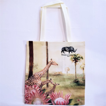 fair trade recycled plastic woven tote with giraffe from South Africa