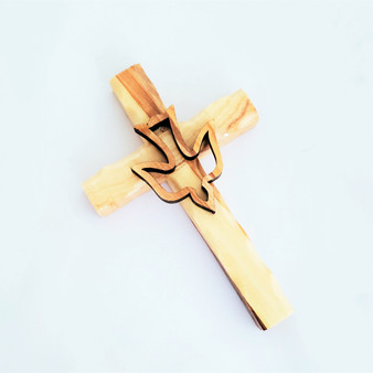 Fair Trade Small Carved Olive Wood Cross with Dove from the Holyland