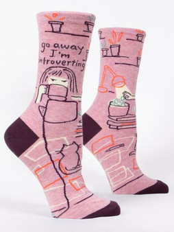 Go away I'm introverting womens crew socks blueq