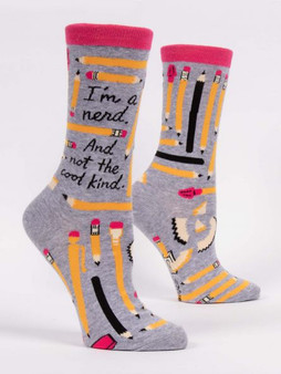 I'm a nerd and not the cool kind womens crew sock blueq