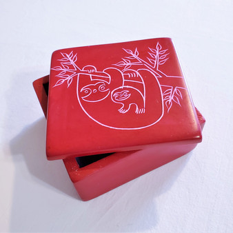 fair trade carved soapstone box with sloths from Kenya