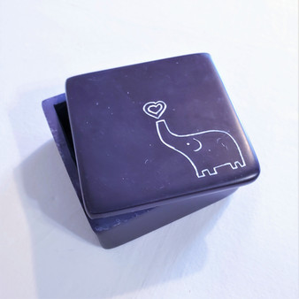fair trade carved soapstone box with elephant from Kenya