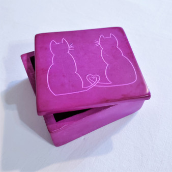 fair trade carved soapstone box with cats from Kenya