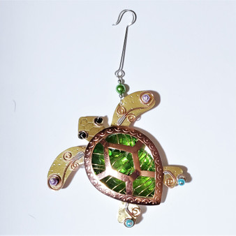 Fair trade mixed metal turtle ornament from Thailand