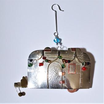 Fair trade mixed metal camper ornament from Thailand