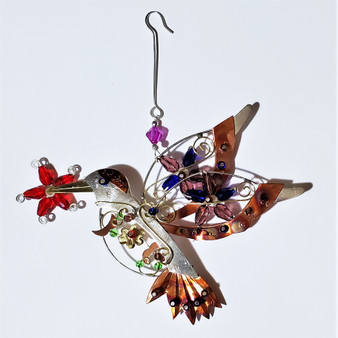 Fair trade mixed metal hummingbird ornament from Thailand