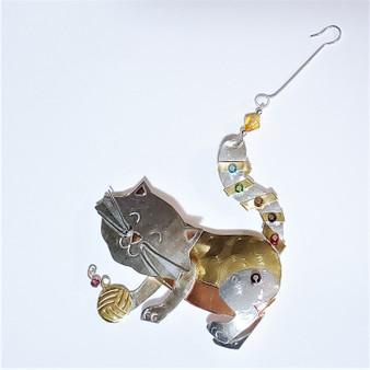 Fair trade mixed metal cat ornament from Thailand