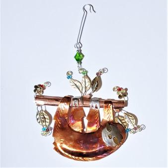 Fair trade mixed metal sloth ornament from Thailand