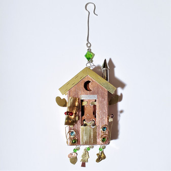 Fair trade mixed metal outhouse moose ornament from Thailand