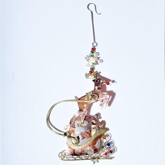 fair trade mixed metal santa ornament from Thailand