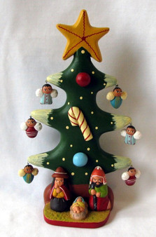 Fair Trade Ceramic Christmas Tree with Holy Family and Angels from Peru