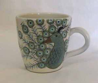 Fair Trade Ceramic Mug with Handpainted Peacock from Guatemala