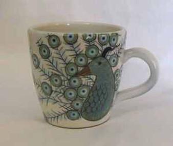 Fair Trade Ceramic Mug with Handpainted Peacock from Guatemala