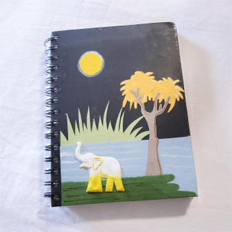 fair trade elephant pooh paper spiral bound journal with elephant from Sri Lanka