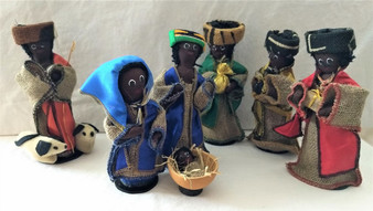Fair Trade West African Textile 7 Pc Nativity Set from Ghana