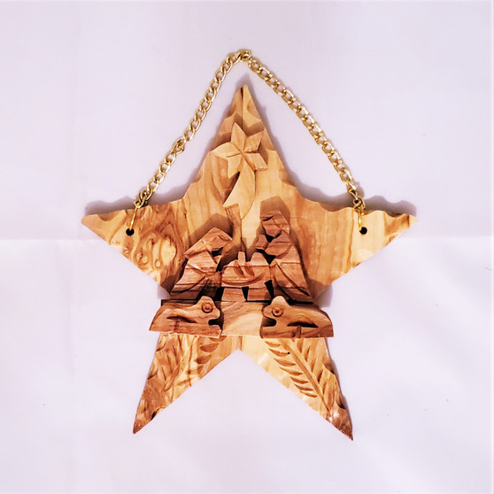 Fair Trade Carved Olivewood Nativity Scene on a Star from Palestine