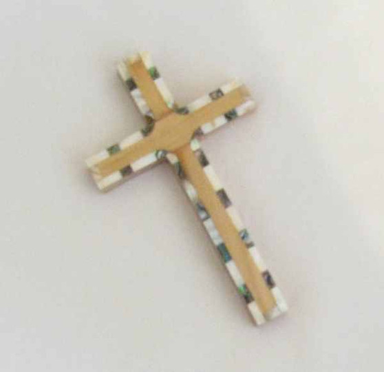 Fair Trade Carved Olive Wood with Inlaid Mother of Pearl Cross from the Holyland