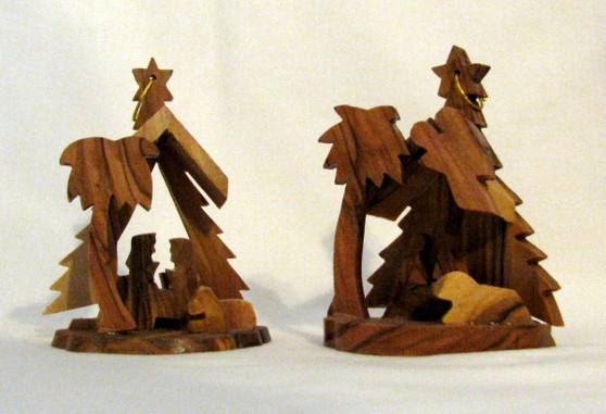 Fair Trade Olive Wood Nativity Ornament from the Holyland