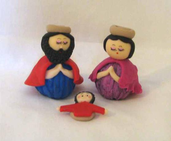 Fair Trade Almond Paste Holy Family Nativity from Ecuador