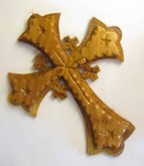 Fair Trade Carved Olive Wood Cross from West Bank