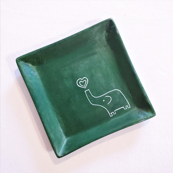 fair trade carved soapstone dish with elephant from Kenya