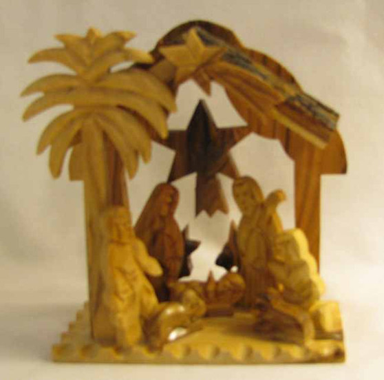 Fair Trade Carved Olivewood 1 Pc Nativity with Bark Roof from the Holyland