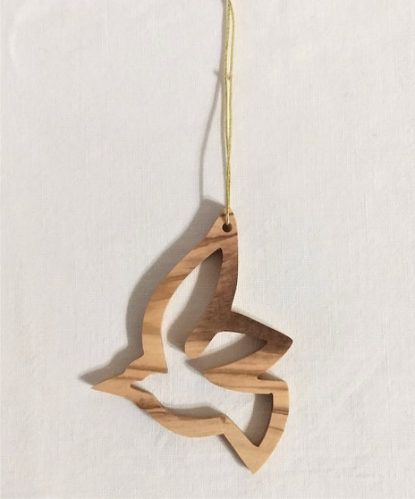 Fair Trade Olive Wood Dove Ornament from the Holyland