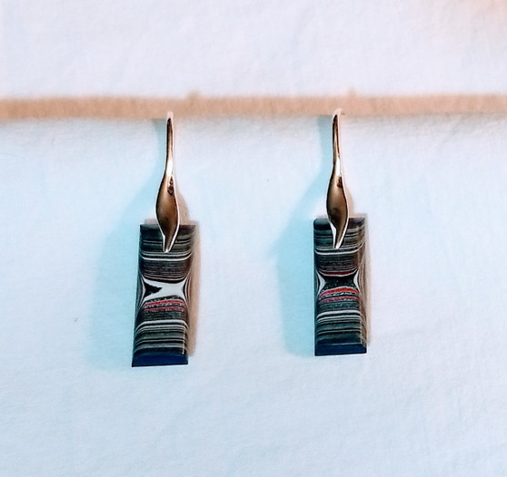 Fordite and Sterling Earrings