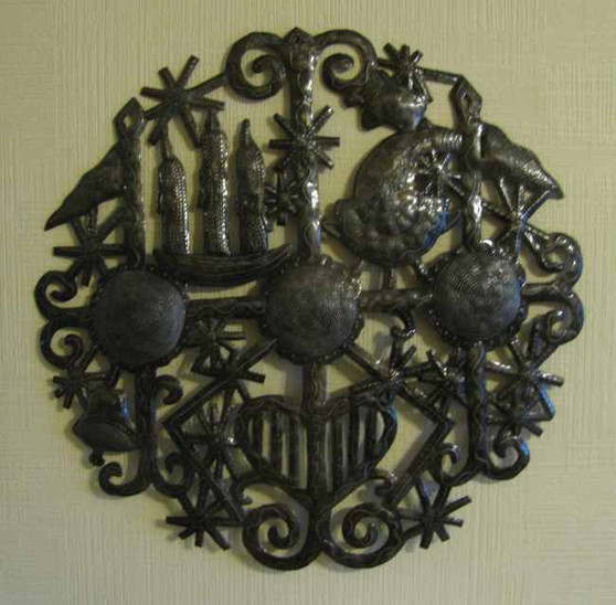 Fair Trade Recycled Steel Drum Veve of the Twins Wallhanging from Haiti