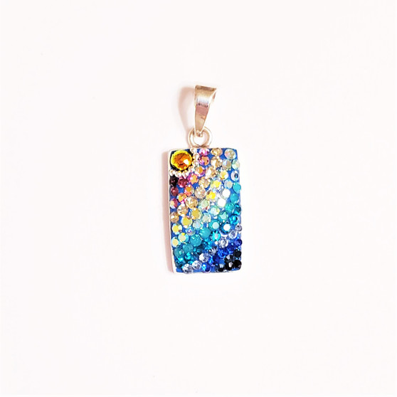 Multicolor Crystal and Dichroic Glass Pendant from Mexico
