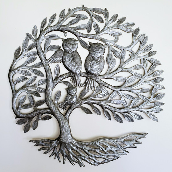 Fair Trade Recycled Steel Drum Tree of Life with Owls Wall Hanging from Haiti
