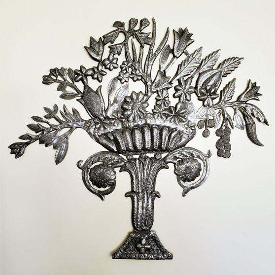 Fair Trade Recycled Steel Drum Flowers in a Pedestal Vase from Haiti