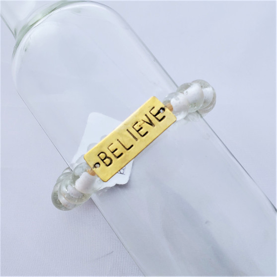 Fair Trade Recycled Glass Bracelet from Kenya Clear Bead with Believe