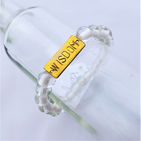 Fair Trade Recycled Glass Bracelet from Kenya Clear Bead with Wisdom
