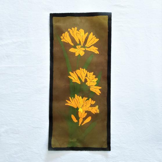 fair trade batik orange lily floral wall art from nepal