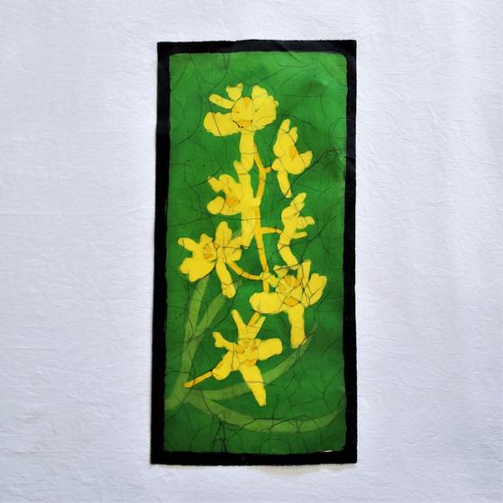 fair trade batik yellow orchid floral wall art from nepal