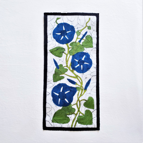 fair trade batik morning glory floral wall art from nepal