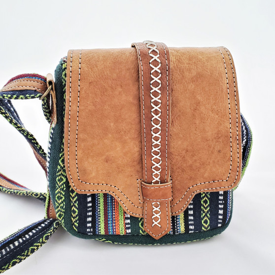 fair trade woven cotton purse with buffalo hide accents from Nepal