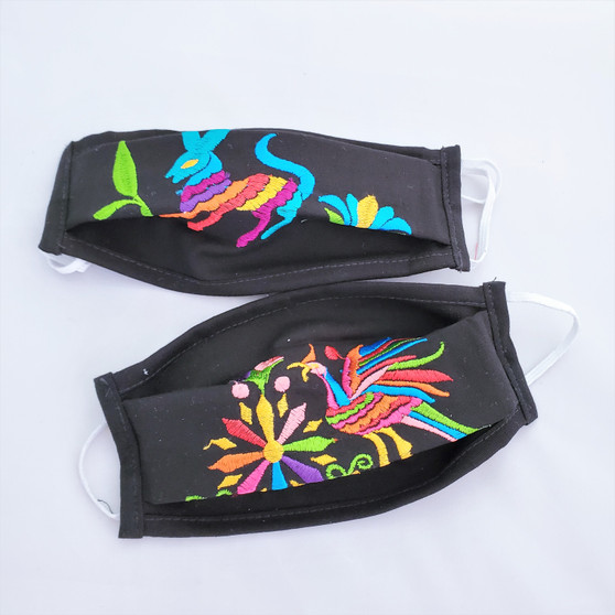 fair trade pleated cotton facemask with embroidered animal from Mexico