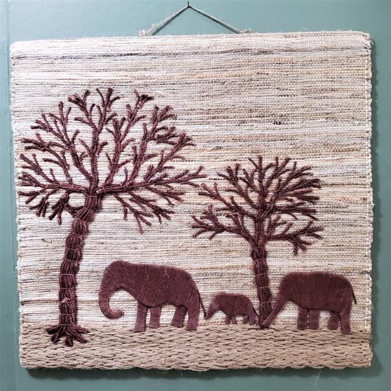 Woven Jute Elephant Wall Art from India