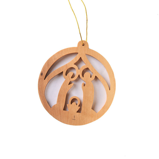 fair trade olive wood nativity ornament the Holy land